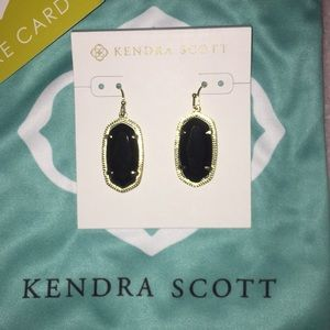 Kendra Scott black and gold earrings